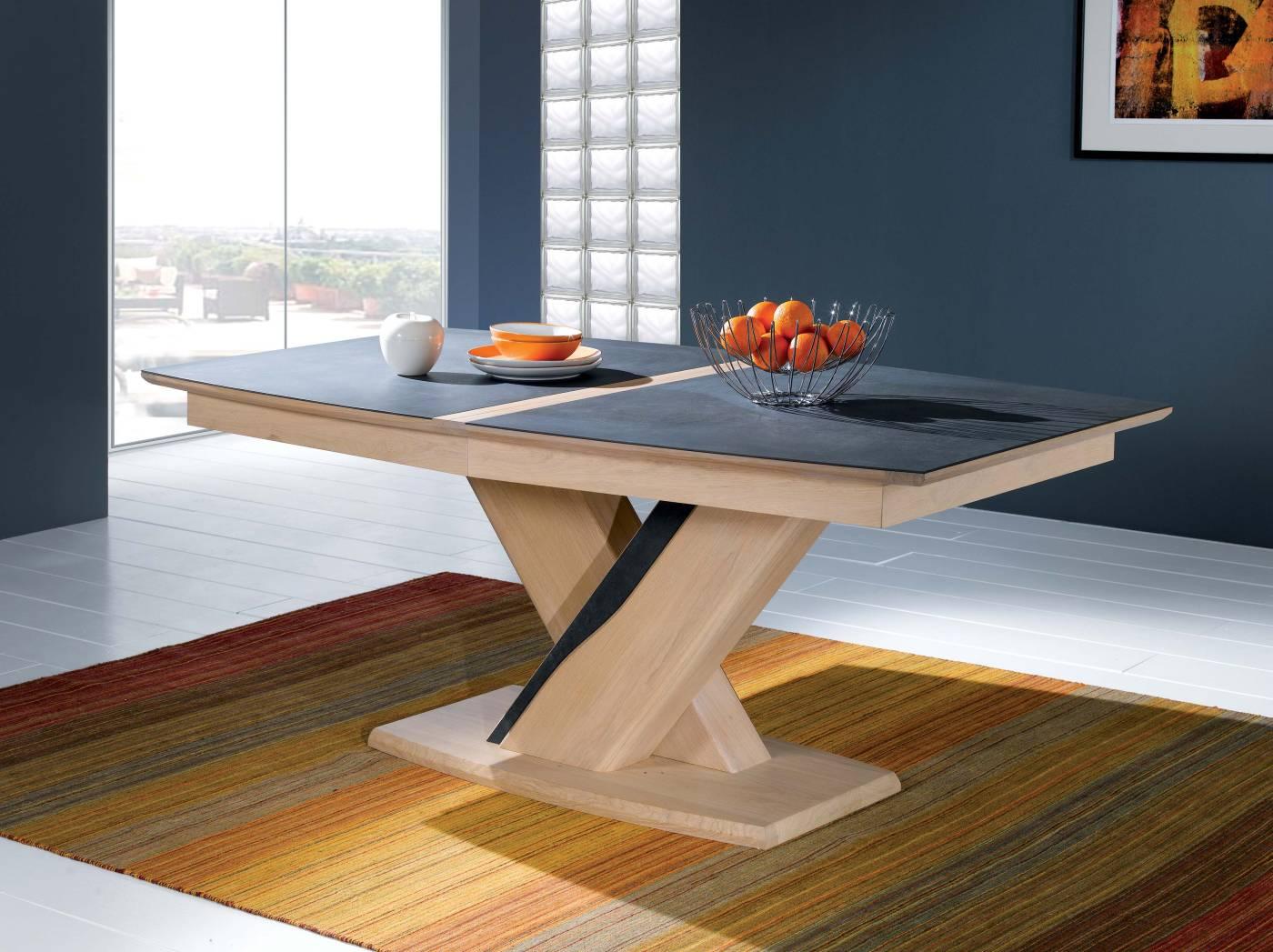 Table salle a manger ceram chene ceramique ateliers de langres - Belle table salle a manger ...