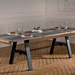 Table de salle à manger chêne et céramique pieds métal Ateliers de Langres – DEAUVIL