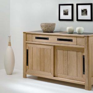 Bahut 2 portes coulissantes chêne massif et céramique design Ateliers de Langres – DEAUVIL