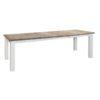 """Table rectangulaire plateau """"westwood"""" avec allonges et pieds """"square"""" blancs."""