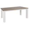 """Table rectangulaire avec pieds """"square"""" blancs."""