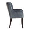 chaise confort tissu gris clous argent pieds noirs