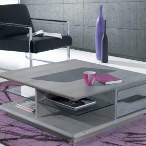 Table basse carrée chêne massif et céramique Ateliers de Langres – CERAM