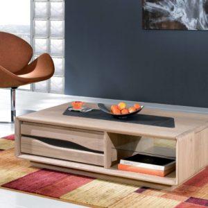 Table basse rectangulaire chêne massif et céramique Ateliers de Langres – CERAM