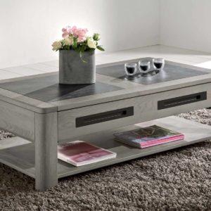 Table basse rectangulaire chêne massif et céramique Ateliers de Langres –DEAUVIL
