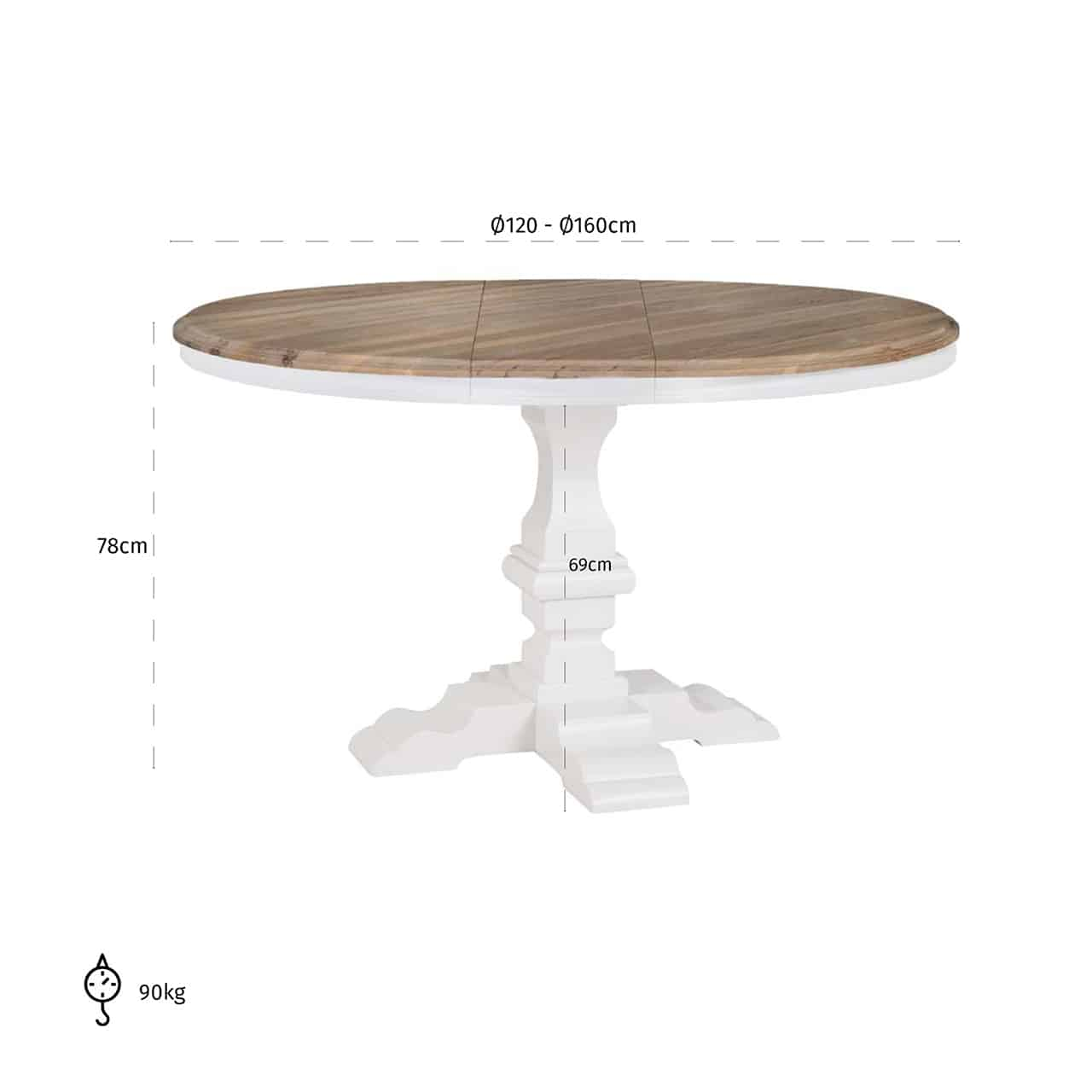 Modele Salle A Manger Table Ronde table ronde avec allonge pied central blanc nancy richmond