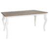 """Table rectangulaire avec les pieds """"queen"""" blancs."""