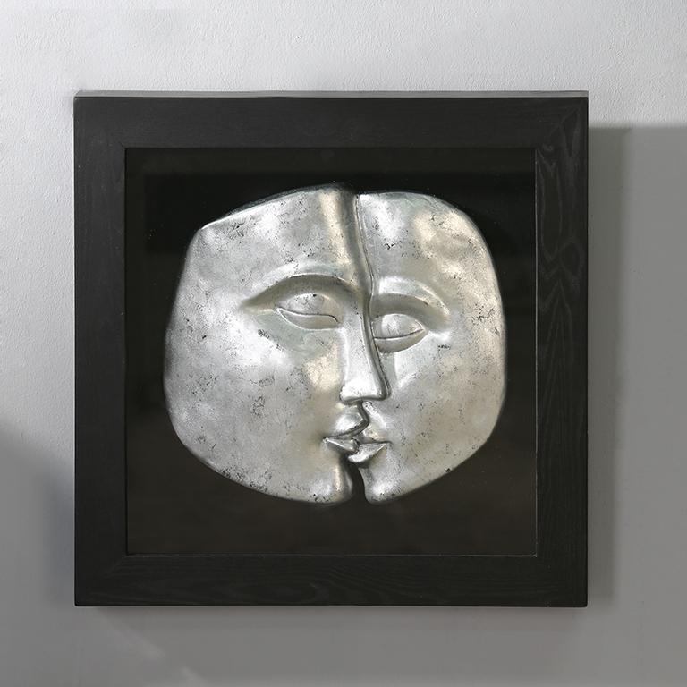 Tableau deco visages 3d cadre noir bois deco - Tableau design metal ...