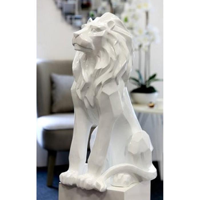 statue decorative animal lion blanc resine 67cm design. Black Bedroom Furniture Sets. Home Design Ideas