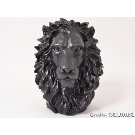 decoration tete de lion king noir