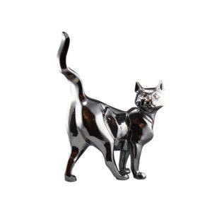 statue-chat-debout-gris-argent-design-deco-drimmer-shadow