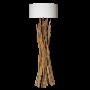Lampadaire en bois naturel avec abat-jour blanc - modele TAIGA