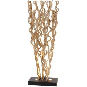 Lampadaire avec lianes en bois naturel et spots integres - modele DELHI