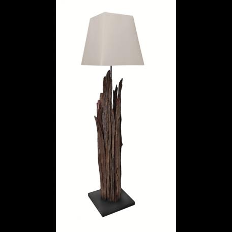 Lampadaire en bois naturel foncé avec abat-jour blanc - modele MAORI