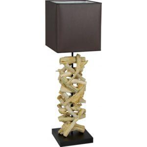 Lampe a poser en bois flotte avec abat-jour et socle noir - modele LUSAKA