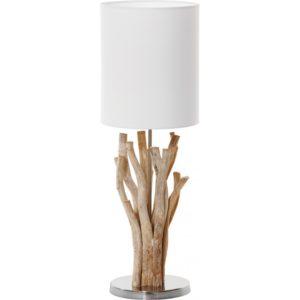 Lampe a poser en bois flotte avec abat-jour blanc et socle argent - modele SAMOA