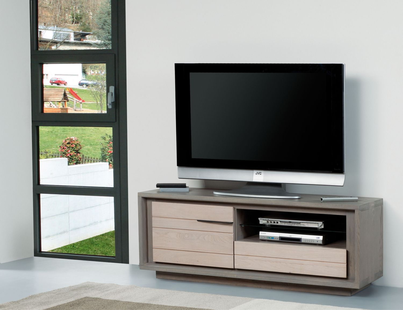 Meuble tv zen 1 porte 1 tiroir bois deco for Meuble zen