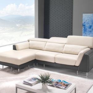 Canapé fixe d'angle 2 ou 3 places en tissu ou en cuir – CLAIRE