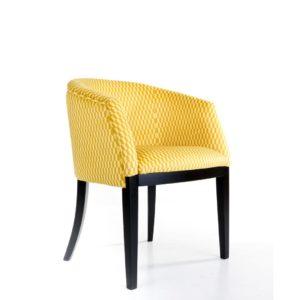 Fauteuil-tissu-jaune-Thomas-Break-69-pieds-bois-noir