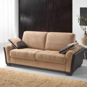 Canapé convertible 2 ou 3 places cuir et/ou tissu – LISA