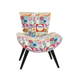 Fauteuil confortable style annees 60 FLORIDA tissu couleurs