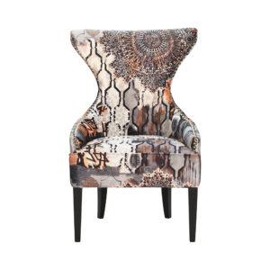 fauteuil confortable tissu motifs marron orange beige