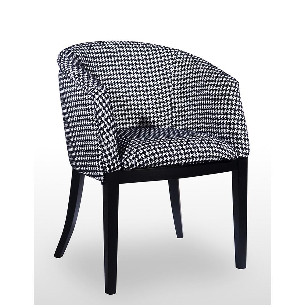 fauteuil tomas tissu motif pied de poule noir et blanc bois deco. Black Bedroom Furniture Sets. Home Design Ideas