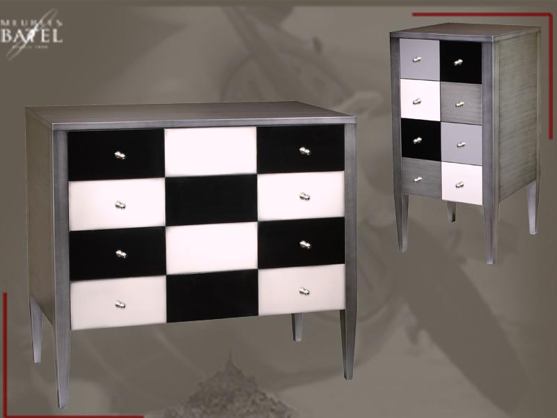 commode sur pieds gm m tal bross et laque bois deco. Black Bedroom Furniture Sets. Home Design Ideas