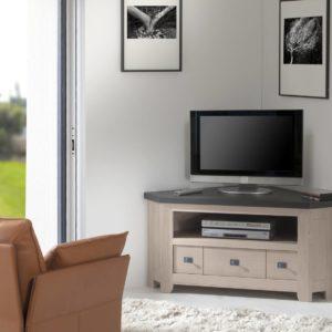 Meuble TV d'angle 100% chêne massif Ateliers de Langres – WHITNEY