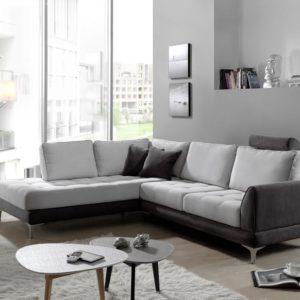Canape d angle modele BAMBOU en tissu gris et blanc.