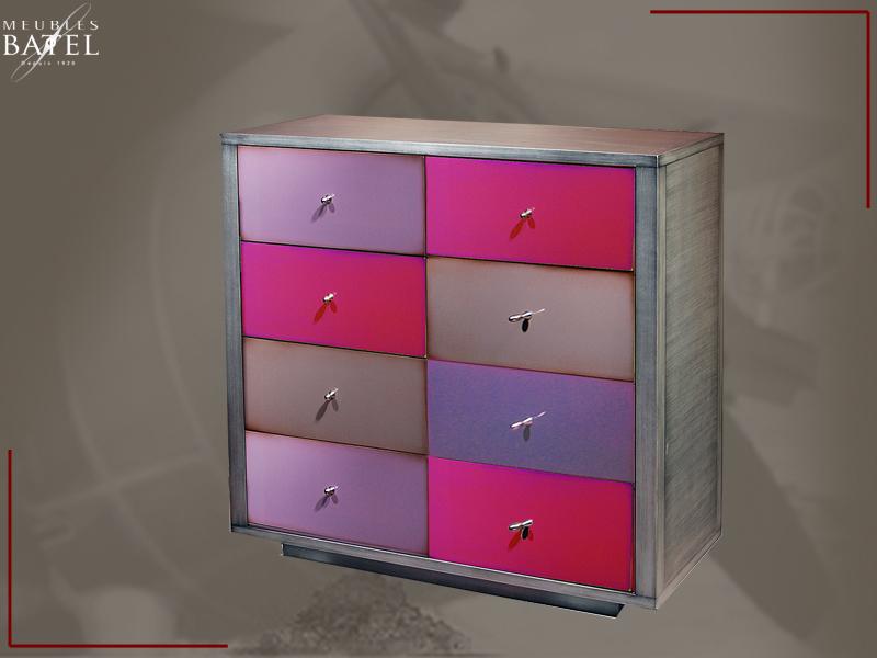 Commode Design Meuble Metal Colore Couleurs Rose Violet