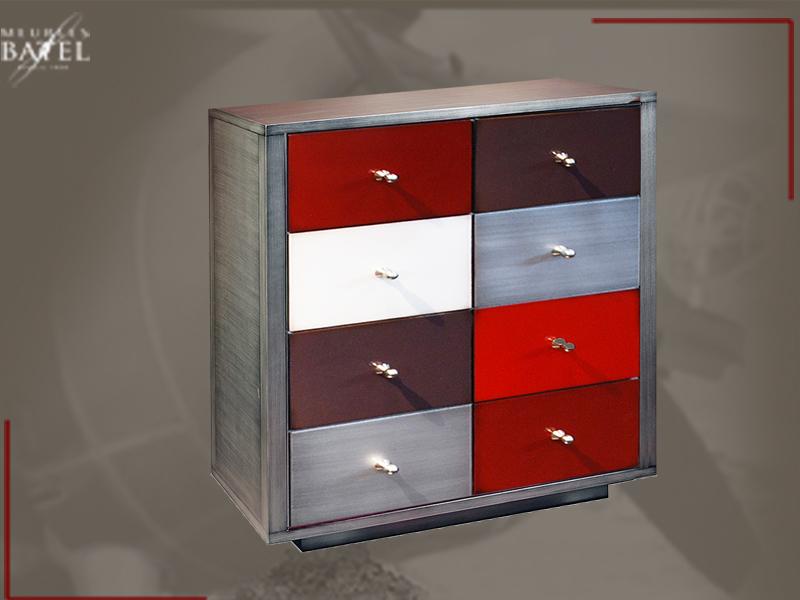 Commode Design Metal Laque Multicolore Meuble Deco Nord