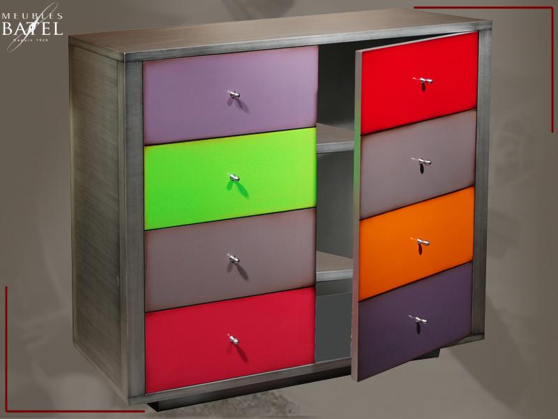 Commode Design Trompe Loeil Meuble Metal Multicolore