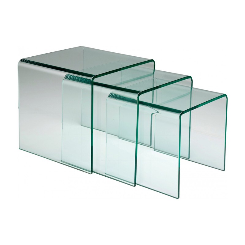 Tables gigognes bout canape verre meuble bois deco nord for Tables gigognes verre