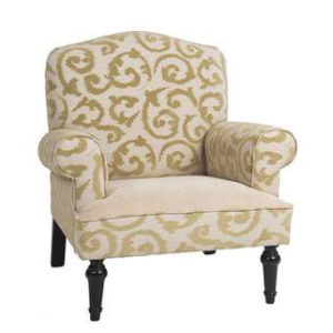 FAUTEUIL CHARLOTTE – tissu motif baroque beige
