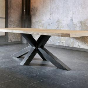 Table-salle-a-manger-nyls-Trunk-pied-métal-plateau -bois-massif-Bois&Deco-Nord