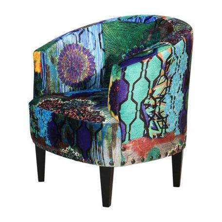 fauteuil motifs bleu