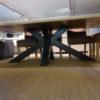 table design plateau chene massif epais pied metal noir acier