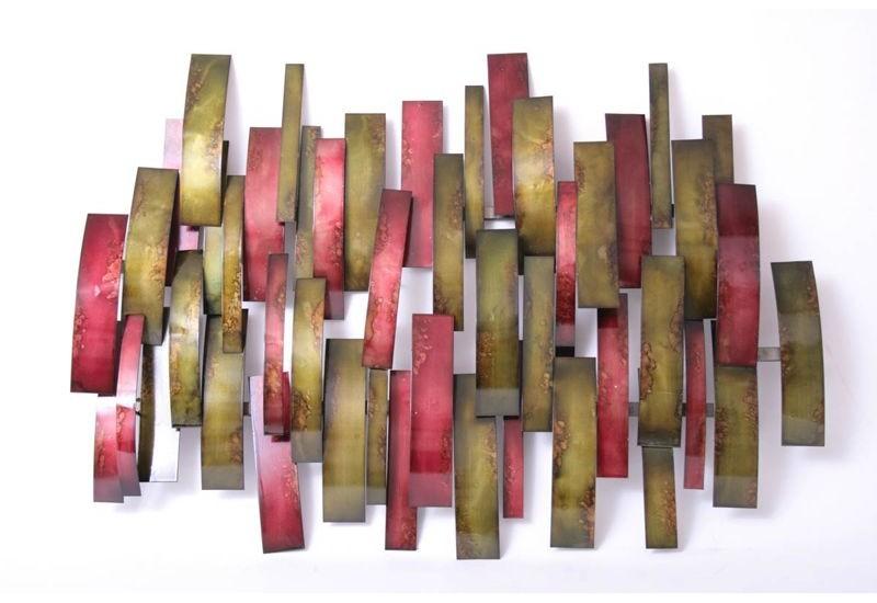sculpture murale socadis damier rectangulaire rouge vert bois deco. Black Bedroom Furniture Sets. Home Design Ideas