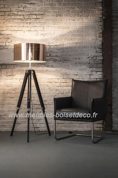 lampadaire moderne zijlstra abat jour cuivre bois deco. Black Bedroom Furniture Sets. Home Design Ideas