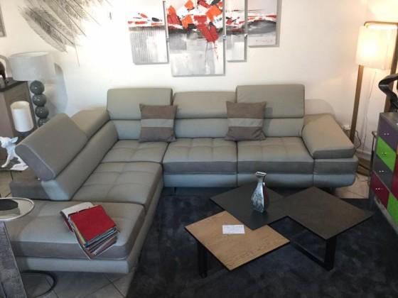 COUP DE COEUR : canapé d'angle relaxation modulable en cuir et tissus