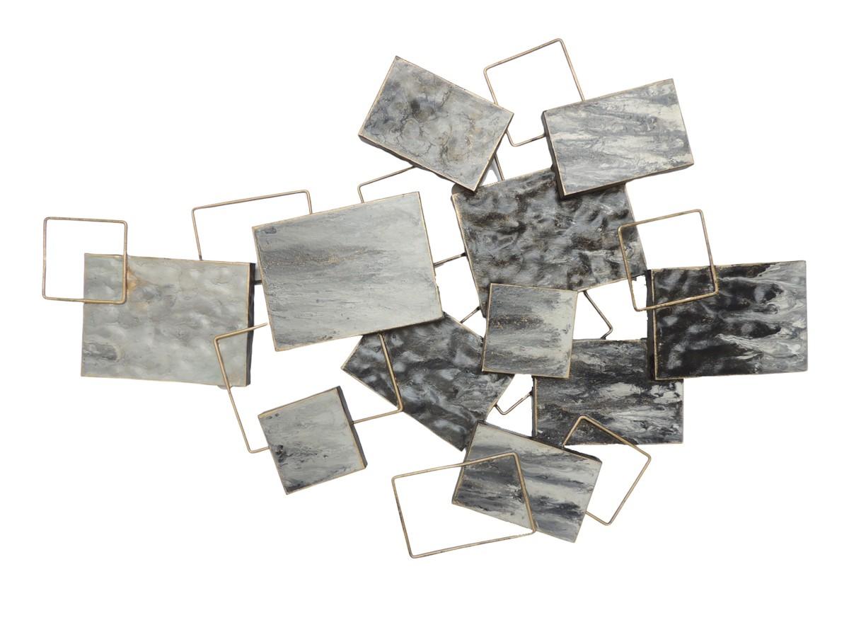 Deco Gris Et Or decoration-murale-metal-abstrait-superposition-formes-gris-or