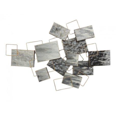 Decoration murale rectangles carres gris et or.