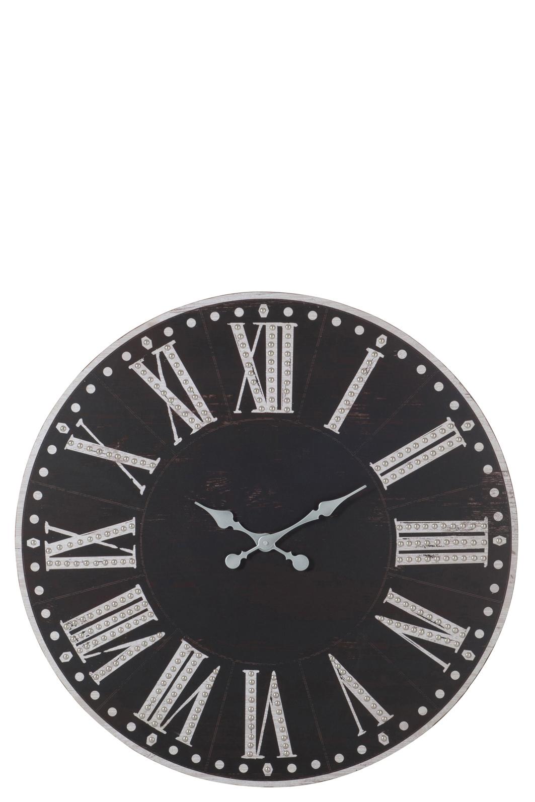 Horloge deco jolipa chiffres romains metal noir blanc bois for Horloge metal noir