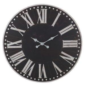 horloge-noir-blanc-chiffres-romains-bois-metal-boisetdeco
