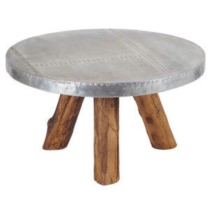 Table-basse-ronde-ESSTABARO-teck-aluminium-bois&deco