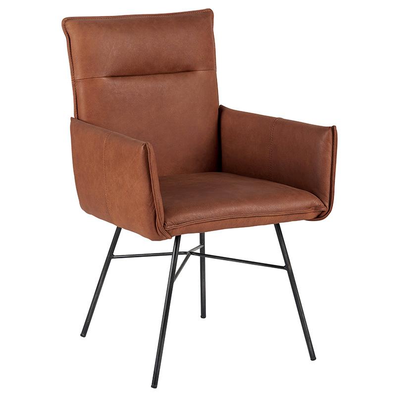 chaise accoudoir cuir havane casita bois deco beauvois cambresis. Black Bedroom Furniture Sets. Home Design Ideas