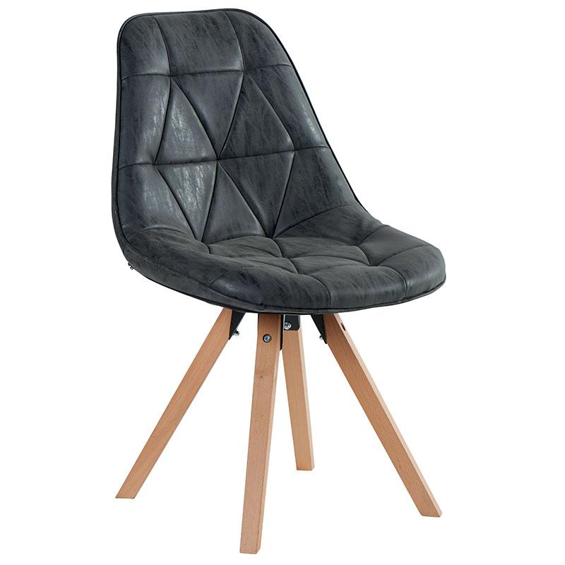 Chaise yate tissus pieds bois tendance meubles bois deco for Chaise noire design