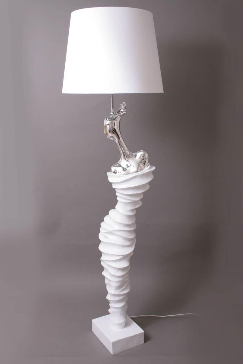 lampadaire femme moderne resine blanc argent bois deco beauvois. Black Bedroom Furniture Sets. Home Design Ideas