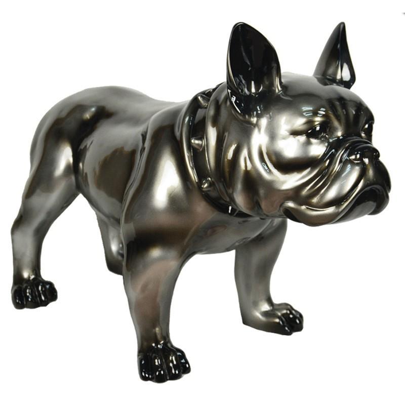sculpture chien bullldog deco gris cadraven bois deco. Black Bedroom Furniture Sets. Home Design Ideas